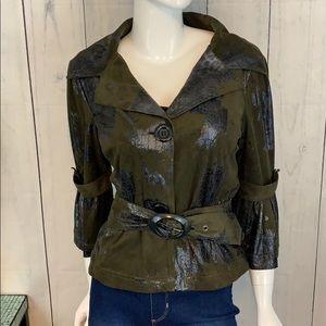 Cartise Ultra Faux Suede & Reptile Belted Jacket